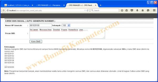 Kirim SMS Masal Auto Generate Phone - Software Kirim SMS Masal Berbasis Web Murah