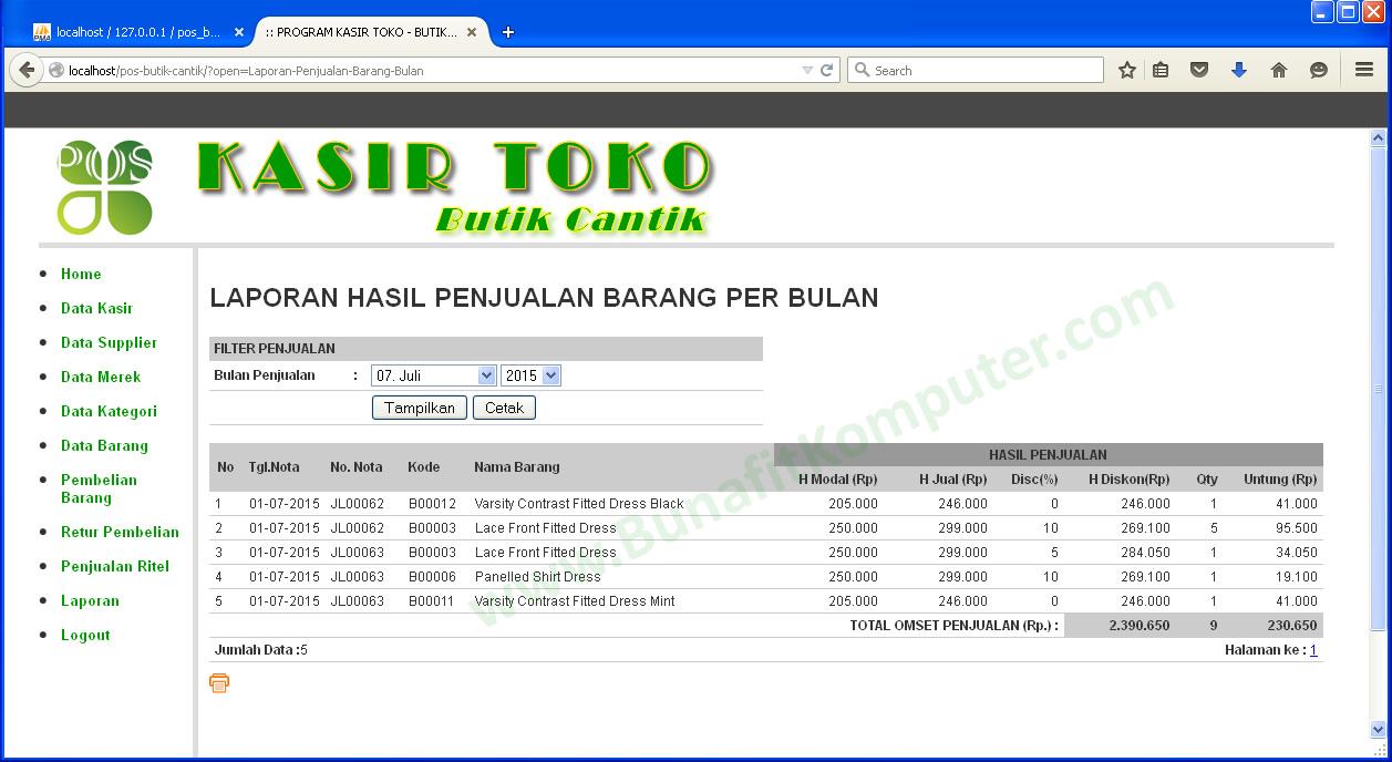 Sistem Informasi Penjualan Pada Butik Cantik Berbasis Web Menggunakan Php Mysql Dan Dreamweaver Bunafit Komputer