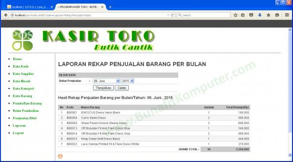 Laporan Rekap Total Hasil Penjualan per Barang