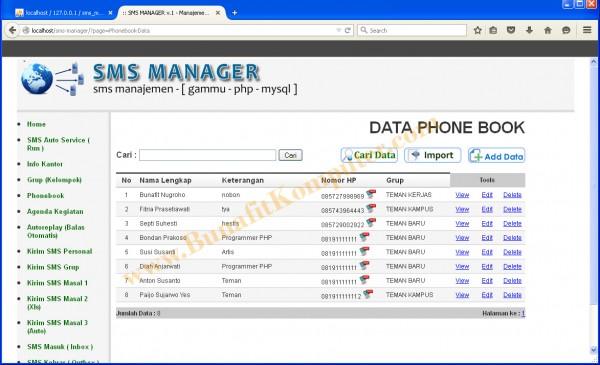 Manajemen Phonebook, dilengkapi fasilitas Send SMS ke nomor terpilih, Cari Nomor/Nama, dan Import Phonebook dari Excel