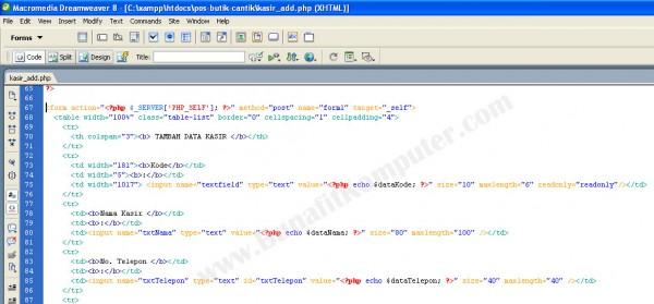 Tampilan Source Code HTML penyusun desain Form dari Dreamweaver