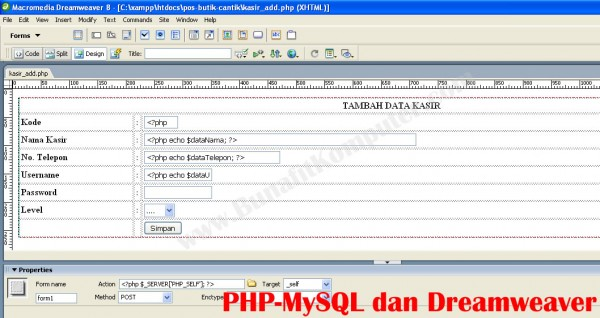 Mendesain Form Tambah Data dan Ubah Data lewat Dreamweaver