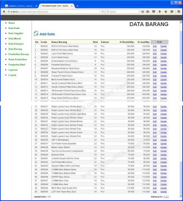 Menampilkan Data Barang dilengkapi Faislitas Tambah Data - Ubah Data - Hapus Data