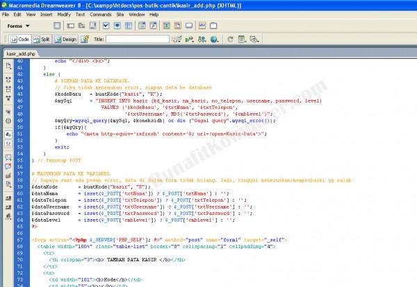 Tampilan Source Code PHP-MySQL untuk Menyimpan Data dengan Dreamweaver
