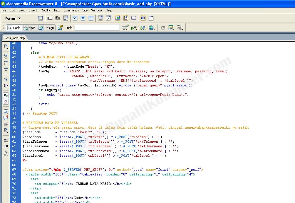 Tampilan Source Code PHP-MySQL untuk Menyimpan Data dengan Dreamweaver ...