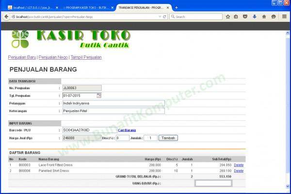 Program Transaksi Penjualan Program Kasir Toko Berbasis Web dengan PHP MySQL