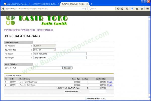 Transaksi Penjualan dengan Barcode berbasis Web