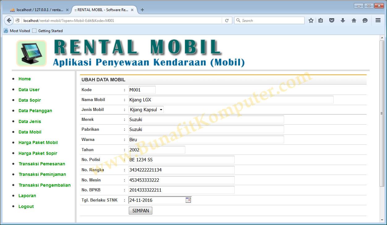 Program Rental Mobil Dengan Php Bunafit Komputer