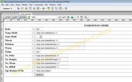 Source Code - Tampilan Form Simpan Data Mobil dari Dreamweaver