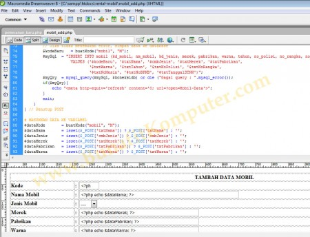 Source Code - Tampilan Skrip Program PHP dan Query MySQL dari Dreamweaver