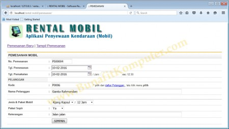 Transaksi Pemesanan Mobil