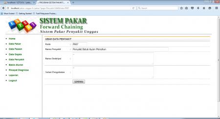 Halaman Program Tambah Data Penyakit pada Program Sistem Pakar