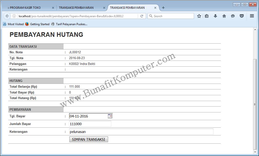 Contoh Program Toko Dengan Php Mysql Bunafit Komputer