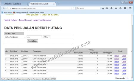 Halaman Pembayaran Hutang Pelanggan
