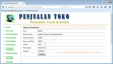 Program Tambah dan Ubah Data Barang