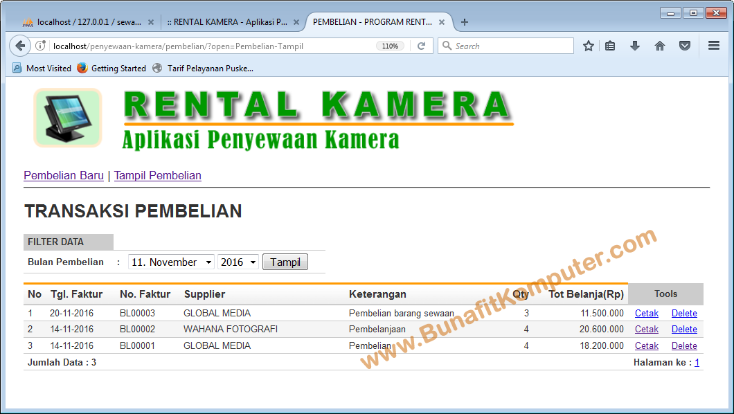 Software Rental Bunafit Komputer