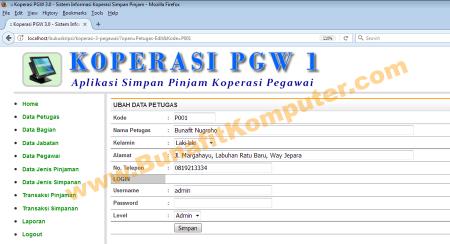 Halaman form untuk tambah dan ubah data Petugas