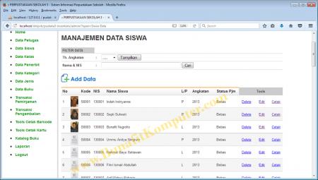 Data Siswa - Sistem Informasi Perpustakaan