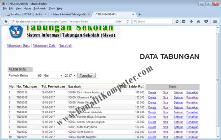 Halaman menampilkan Data Tabungan Nasabah atau Siswa
