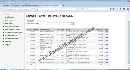 Halaman menampilkan Data Rekening Nasabah