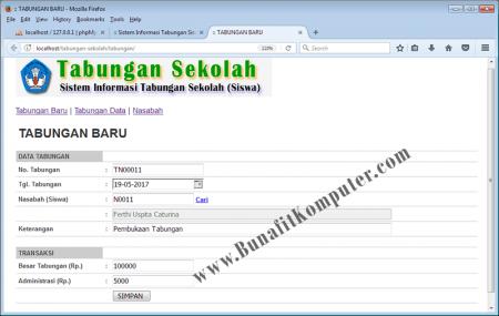 Halaman program Pembukaan Tabungan Nasabah/ Siswa