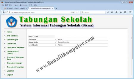 Halaman pertama setelah login, Sistem Informasi Tabungan Sekolah