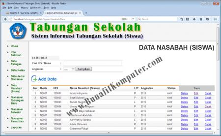 Halaman untuk menampilkan Data Nasabah/Siswa dilengkapi Pencarian dat