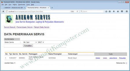 Data Penerimaan Servis