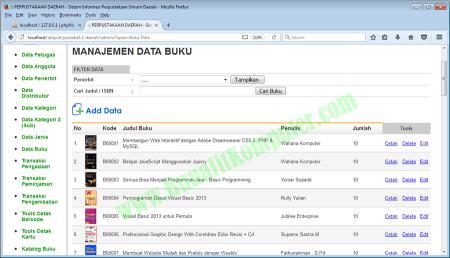 Manajemen Data Buku Perpustakaan Umum Daerah - dengan PHP dan MySQL Dreamweaver