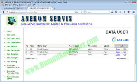 Program Aplikasi PHP - Sistem Informasi Jasa Servis Komputer Laptop Berbasis Web dengan PHP dan MySQL