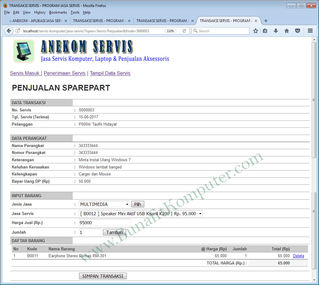 Software Servis Bunafit Komputer